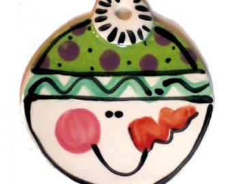 Handmade Pottery Snowman Ornament with hat can be personalized