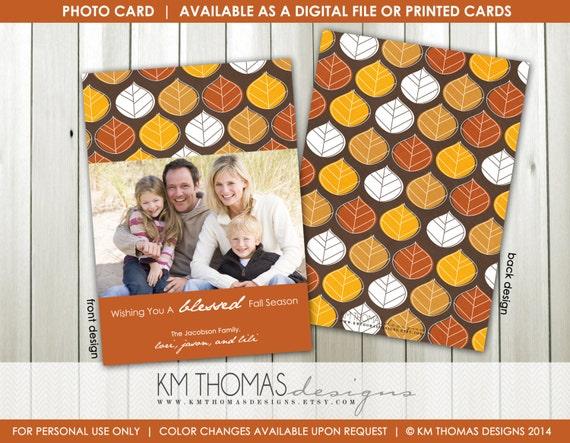 Harvest Fall Photo Card: Thanksgiving Photo Card - Autumn Photo Card - Autumn Leaves - Printable - #F108