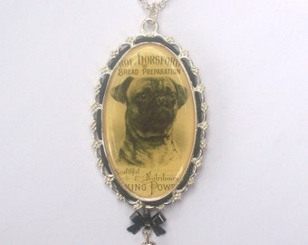 Victorian Style PUG PENDANT NECKLACE - Dog Pet Lover -Vintage Insprired Jewelry