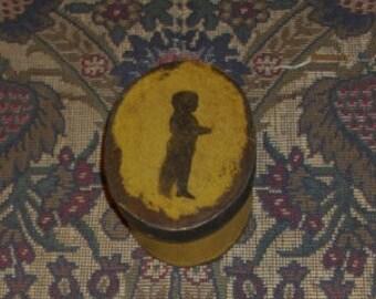 Paper Mache Vintage Mustard Silhouette Boy Box