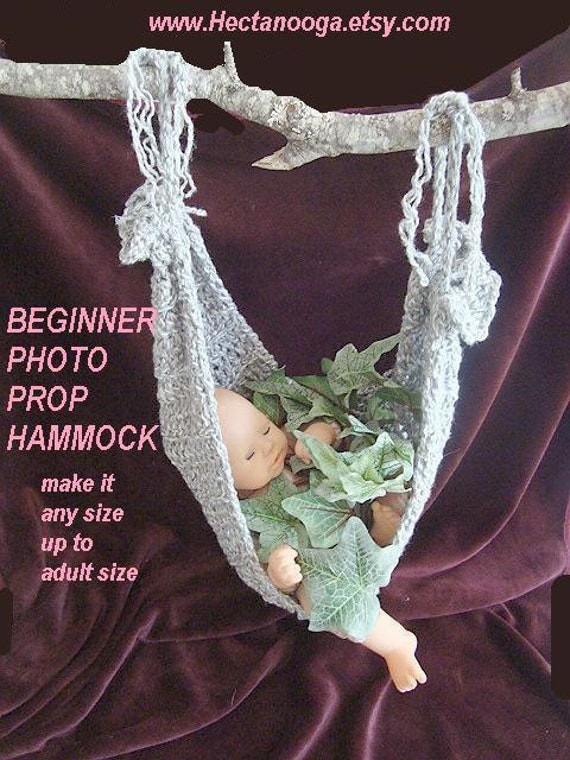 Photo Prop Hammock, CROCHET PATTERN 407...or make it any size up to adult size.  BEGINNER level...Permission to sell your finished items