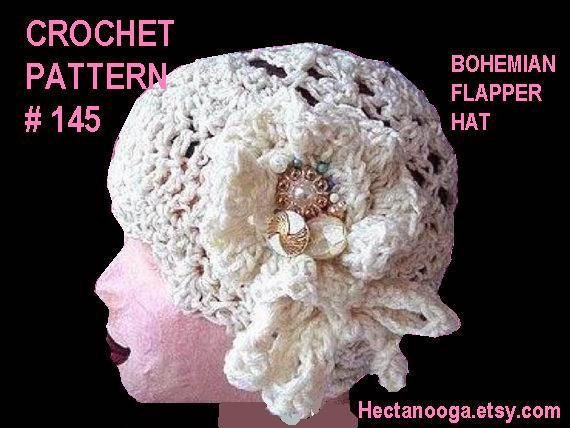 Bohemian Flapper Hat - CROCHET PATTERN -#145, Women's hat and flower pattern, instant download  crochet patterns,  sell your finished items.