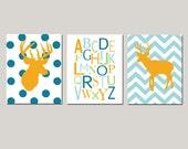 Baby Boy Deer Nursery Art Trio - Chevron Deer, Alphabet, Polka Dot Deer - Set of Three 8x10 Prints - CHOOSE YOUR COLORS