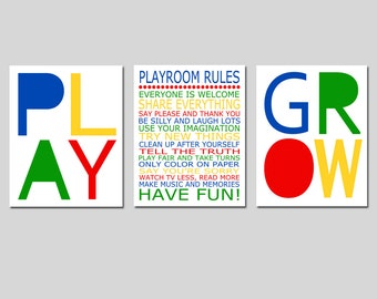 Playroom Rules Set - Play, Love, Grow - Kids Wall Art for Nursery - CHOOSE YOUR COLORS - Set of Three 11x14 Typography Prints