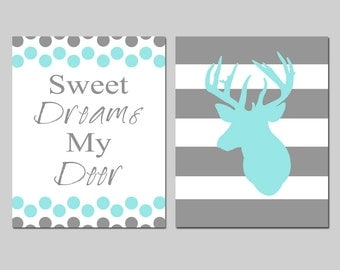 Baby Boy Deer Theme Nursery Art Duo - Striped Deer - Sweet Dreams My Deer Polka Dot Quote - Set of Two 11x14 Prints - CHOOSE YOUR COLORS