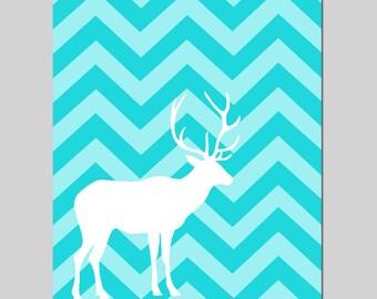 Chevron Deer Nursery Art Baby Boy Nursery Decor - 8x10 Print - CHOOSE YOUR COLORS - Shown in Aqua White Medley