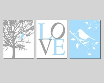 Bird Love Trio - Set of Three 8x10 Nursery Art Prints - Bird in Tree - Branch - CHOOSE YOUR COLORS - Shown in Baby Blue, Gray, Yellow, More