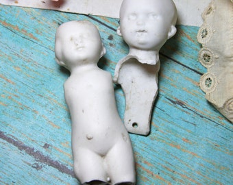 FROZEN CHARLOTTE Dolls (2) for Altered Art and Mixed Media Porcelain Dolls