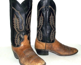 Distressed Black and Brown  Cowboy Boots size 8 D or womens size 9.5