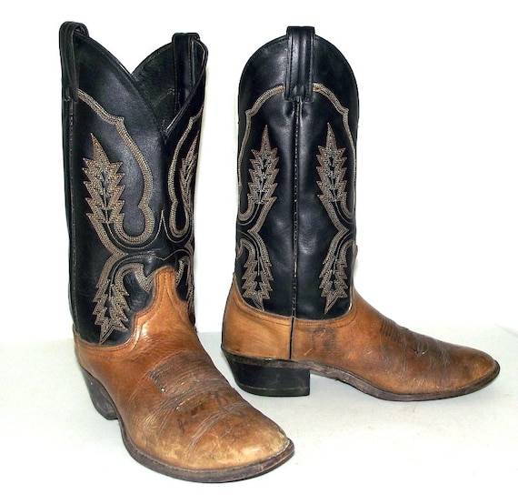 distressed black and brown cowboy boots size 8 d or womens
