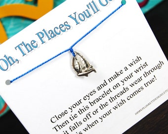 The Places You'll Go - Sailboat Charm - Wish Bracelet - Shown In SAIL AWAY - Over 100 Different Colors Are Also Available