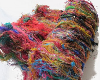 Sari Silk Spinning Batt, multicolored, 3+ ounces