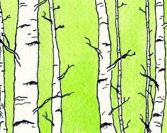 ACEO Print, Stocking Stuffer, ACEO Card, Limited Edition, ACEO Art, Tiny Art, Forest, Affordable Art, Woodland, Birch Trees, Gift Under 5