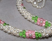 Vintage Crocheted Pearl Necklace with Pink Flower Motif