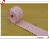 1.25 inch light weight Cotton webbing  purse strap  key fob strap bag strap baby pink  5 yards ZD52