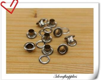 4mm Gunmetal copper Eyelet  grommet  Grommets eyelets 100 sets AC90