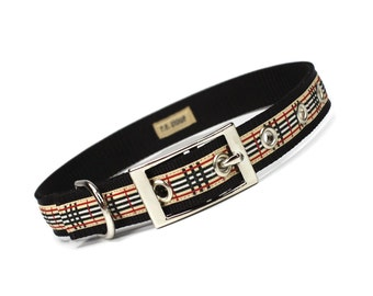 piccadilly plaid metal buckle dog collar (3/4 inch)