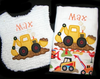 Personalized Handmade Baby Gift Set - Appliqued Bib and Burp Cloth - Dirt Digger - Chenille - Dig It - Move It