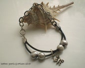 Artisan Sterling Silver and Leather with Freshwater Pearls Bracelet