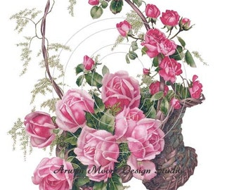 Beautiful Vintage Chic Shabby Basket of Red Roses Spray Waterslide Water Slide Iron On Transfer Miniature Decals ro-161