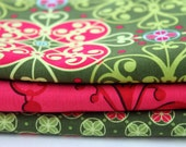 Moss and Pink Mezzanine by Patty Young Fabric Half Yard Bundle set of 3
