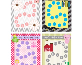 Sticker Charts - Personalized with Childrens Name - 8.5x11