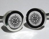 Compass Rose Cufflinks - Steampunk Nautical cufflinks - Travelers gift Mens gift idea Groomsmen gift idea