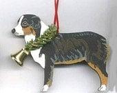 Hand-Painted AUSTRALIAN SHEPHERD TRI Wood Christmas Ornament Artist Original.....choose pine or candy cane design