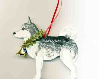 Hand-Painted SIBERIAN HUSKY GREY Wood Christmas Ornament Artist Original...Nicely Painted