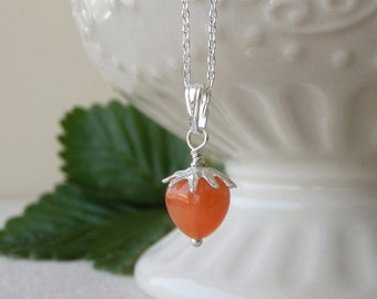 Wild Strawberry Necklace - Orange Chalcedony Gemstone, Fruit Jewelry, Botanical Jewelry, Spring Gift, Gift for Her