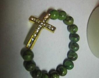 Basketball Wives Inspired Green  Bloodstone Japer Gemstone Strech Bracelet BBW