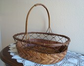 Vintage Basket, On Sale, Wire and Wicker Woven Basket, Handled, Oval, Rattan, Wire, Metal, Wicker, Brown, Lattice, Utility, Decorative