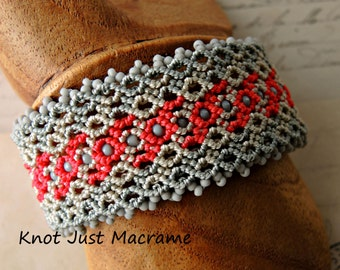 Red and Gray Micro Macrame Cuff Bracelet Shades of Grey