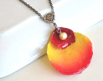 Real Double Rose Petal Necklace - Yellow Red, Real Flower Jewelry
