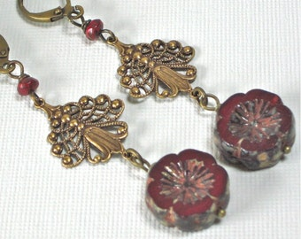 Red Art Nouveau Style Earrings - Art Nouveau Jewelry, Filigree Earrings, Flower Earrings, Czech Earrings