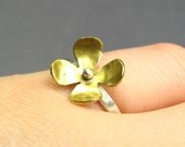 Brass Blueheart Flower Ring - Sterling Silver and Brass Stacking Ring - Ready To Ship Ring Size 6