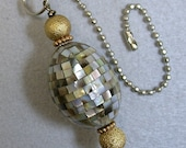 Vintage Handmade Paua Silver Abalone Mosaic Shell Bead Fan Light Pull, Vintage Gold Beads