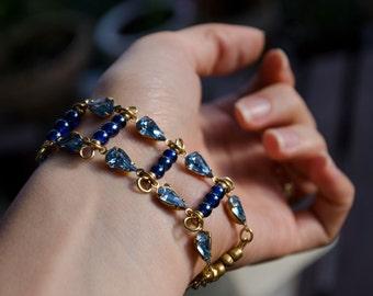 Bracelet - Blue Glass - Grecian Gypsy Mediterranean Old Hollywood Glamour Boho Delicate Bracelet - Gift for Her - Shades of Blue -  OOAK