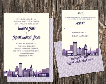 Providence Rhode Island Wedding Invitation Set - Providence Wedding