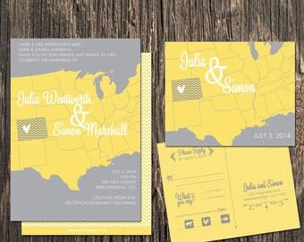 Colorado Wedding Invitation Set - Colorado State  Destination Wedding