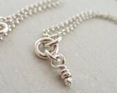 Sterling Silver Ali Knot Necklace, Tiny Rustic Knot Silver Pendant, Mini Handmade Pendant