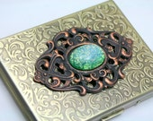 Elven Jewel Large Green Fire Opal Embossed Brass Metal Cigarette Case Large 100's by Shadesongs