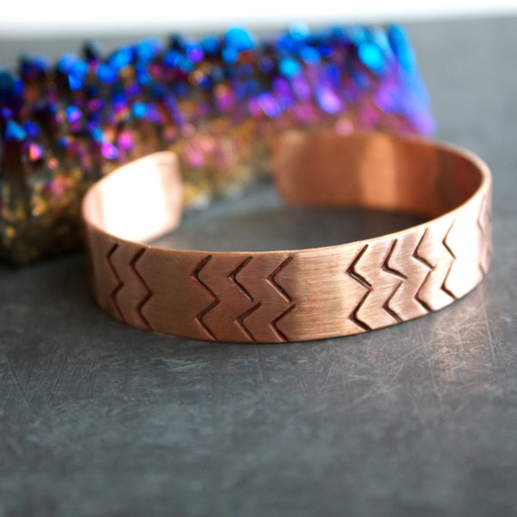 Reserved - Dark Red Chevron Cuff Bracelet Rustic Patina Textured Copper Tribal Graphic Unisex Mens Jewellery