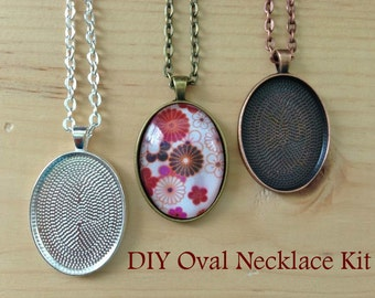 25pc..DIY Oval Pendant Tray Necklace Kit...22 x30mm...includes chains, glass tiles,  trays..Mix and Match color trays.