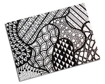 ACEO Zentangle Black & White (Zentangle -120918), Pen and Ink Illustration, Original, OOAK, One of a Kind, Doodle, Tangles, Patterns
