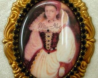 Elizabeth Bathory Transylvania Porcelain Cameo GOTH Ephemera Solid Brass Setting Brooch OR Pendant Dark Garnet Glass Rhinestones Miss-art