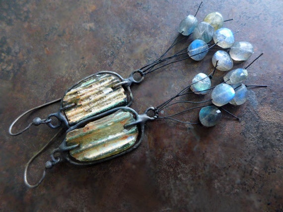 Wind and Water. Roman glass, labradorite, solder and sterling silver rustic bohemian assemblage earrings.