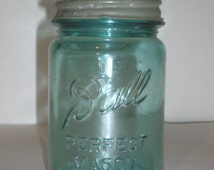 Vintage Blue Ball Jar - Perfect Mason Canning Jar - Zinc and Porcelain Lid - Blue Ball Canning Jar with Lid - Zinc Canning Jar Lid