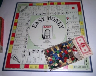 Easy Money Game - Game Board - Play Money - Wooden Playing Pieces - Old Game Board - Old Game Pieces - Family Game Night Board Game