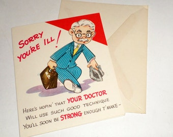 Vintage Get Well Card - Sangamon Greeting Card - Unused Card with Envelope - Vintage Greeting Card - Collectible Get Well Card - Funny Card